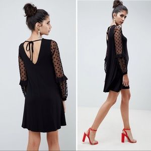 NWT ASOS | Shift Dobby Mesh Sleeve Dress Black